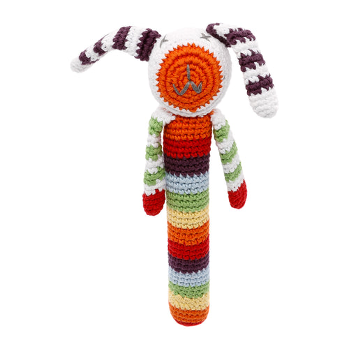 Pebble Rattle Stick – Bunny Multi