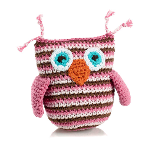 Pebble Rattle – Owl Pink