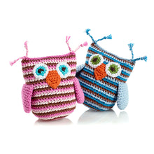 Pebble Rattle – Owl Blue and Pink