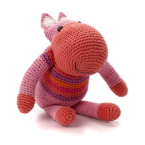 Pebble Rattle – Hippo Pink 1