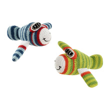 Pebble Rattle – Airplane Blue & Green