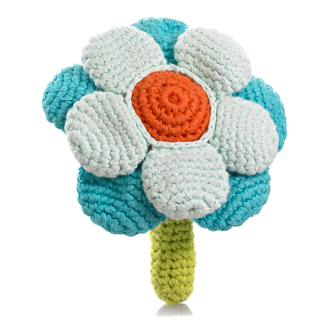 Pebble Rattle – Flower Turquoise
