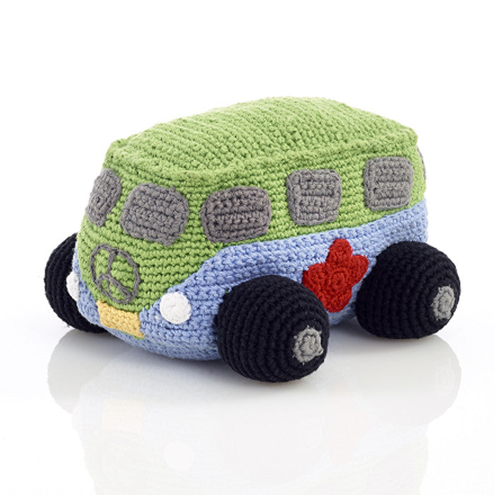 Pebble Rattle – Crochet Campervan Blue