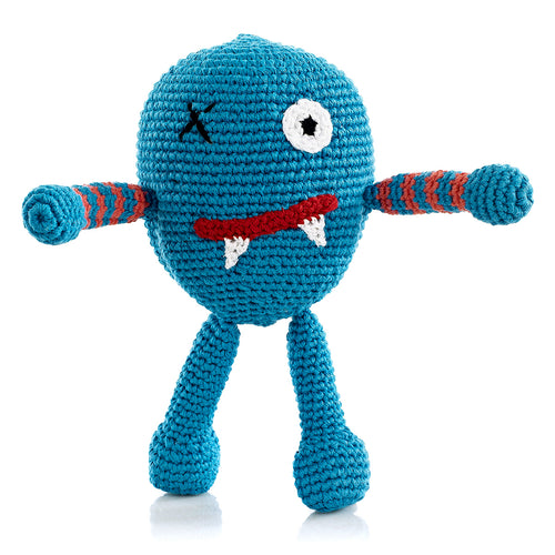Pebble Rattle – Chubby Monster Scary Blue