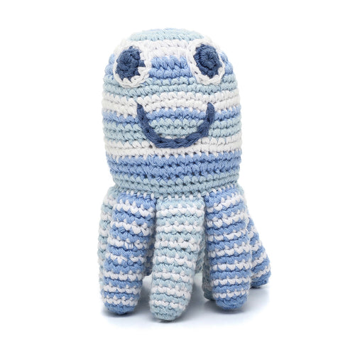 Pebble Rattle – Octopus Blue