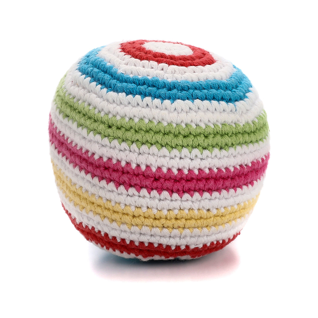 Pebble Rattle – Stripey Ball White 1