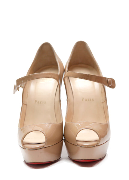 Pre owned CHRISTIAN LOUBOUTIN Beige Patent Pumps