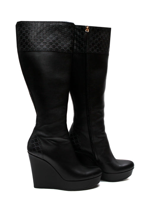 07141fd92 Pre owned GUCCI Black Knee Boots