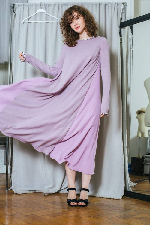 Lilac wool dress by Azerbaijani designer NARGIZ SHAKHBAZI