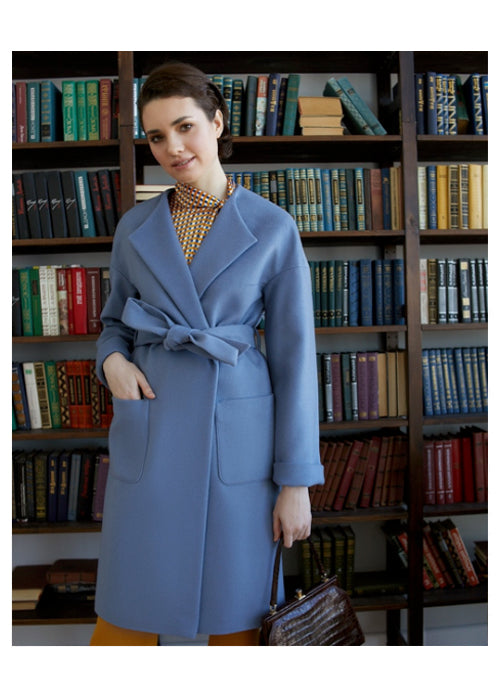 Blue oversize wool and cashmere coat