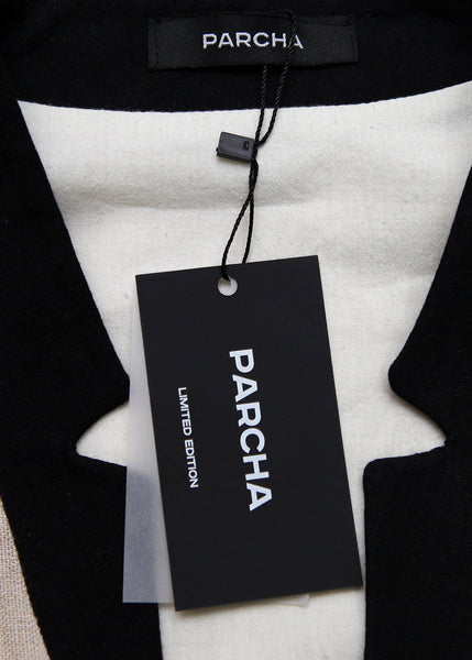 PARCHA logo on White Grey Dress created by Azerbaijan designer