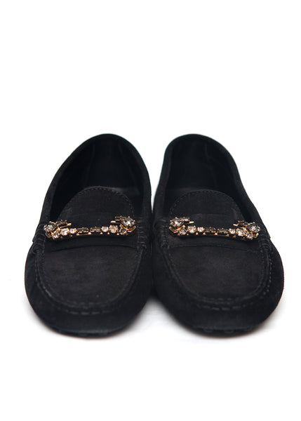 front view of Luxury TOD'S Black Suede Moccasins