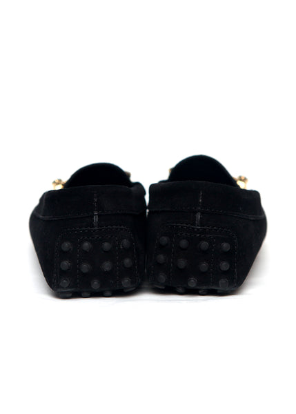 back view of Luxury TOD'S Black Suede Moccasins
