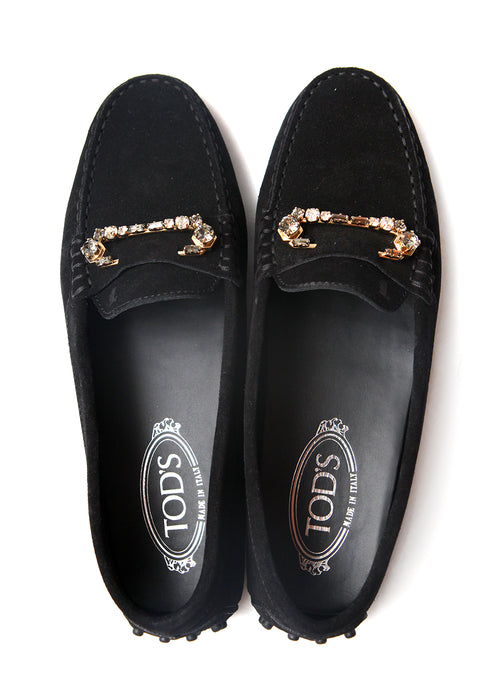 upper view of Luxury TOD'S Black Suede Moccasins