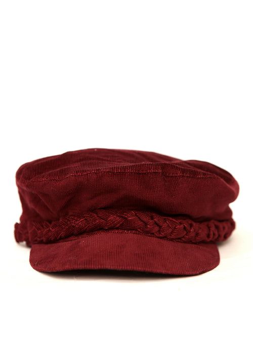 Front view of Bordeaux Velvet Cap by Azerbaijani designer