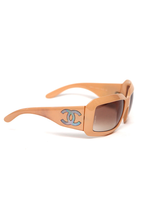 Beige Chanel Sunglasess with framed Square and light brown gradient lences right view