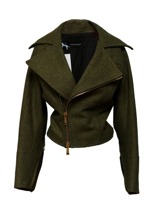 Luxury DSQUARED2 Wool Biker Jacket