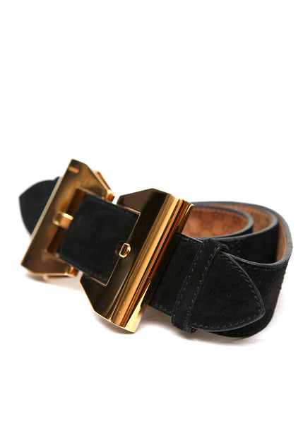 left view of Pre owned GUCCI Black Suede Belt