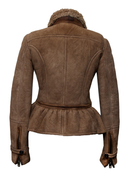 Back view of Fashion BURBERRY Brown Shearling Coat