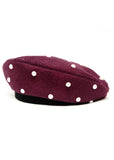 Bordeaux Wool Beret with white pearls made in Azerbaijan