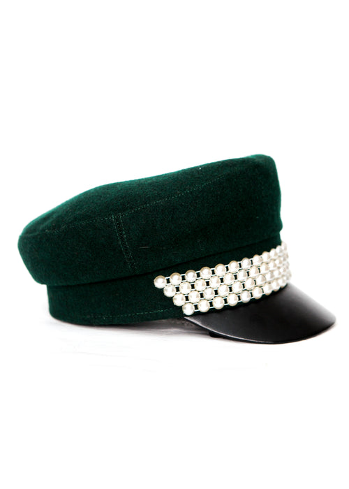 Green Cap with Pearls right view