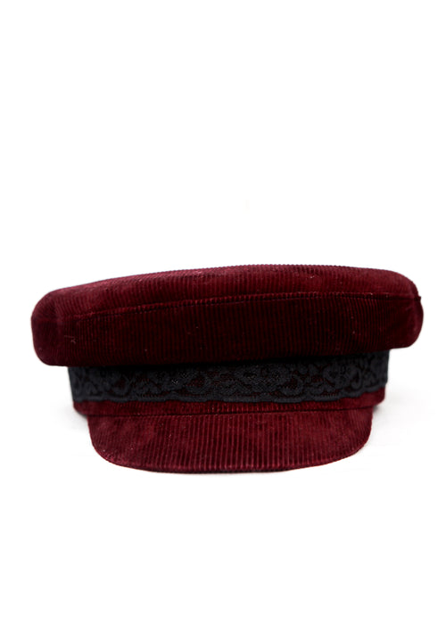 Bordeaux Velvet Cap with black lace