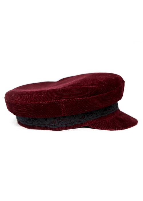 Bordeaux Velvet Cap with black lace right view
