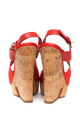 Back view of  YVES SAINT LAURENT Red Leather Wedges