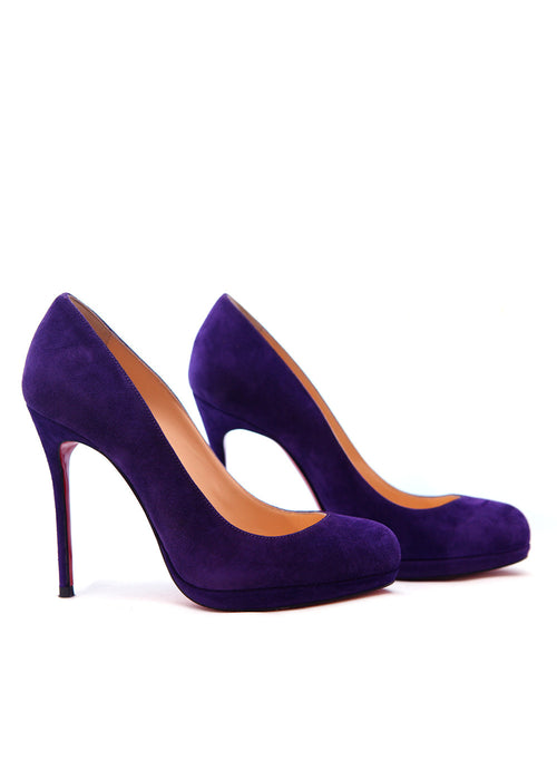 Pre owned CHRISTIAN LOUBOUTIN Purple Suede Pumps
