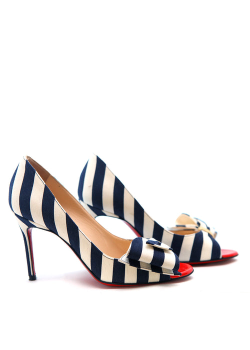 Pre owned CHRISTIAN LOUBOUTIN Striped Cloth Heels
