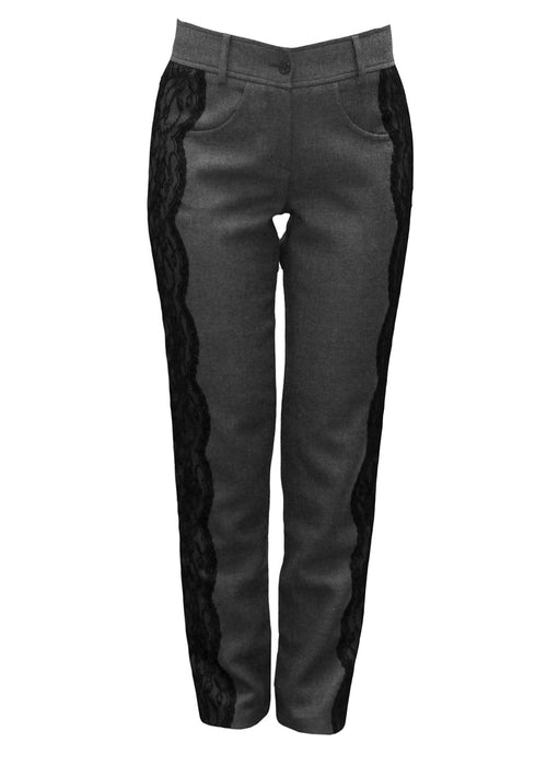 Wool grey classic trousers embellished with lace on the sides