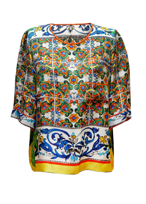 Luxury DOLCE & GABBANA Printed silk shorts with blouse