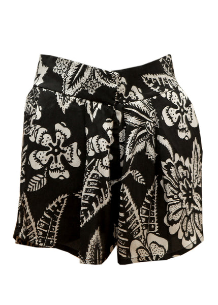 Black silk shorts with white prints