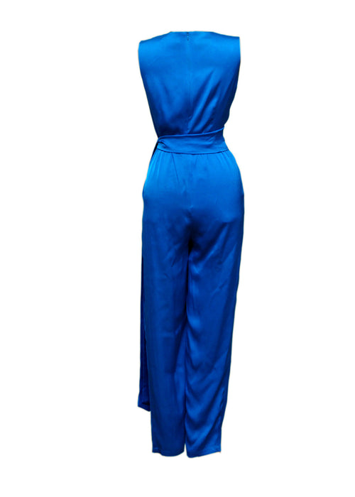 Luxury ALEXANDER TEREKHOV Electric blue silk jumpsuit