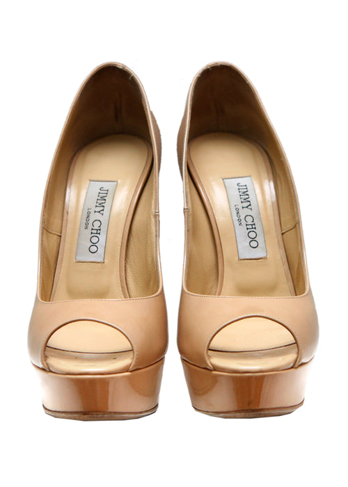 Luxury JIMMY CHOO Beige Leather Pumps