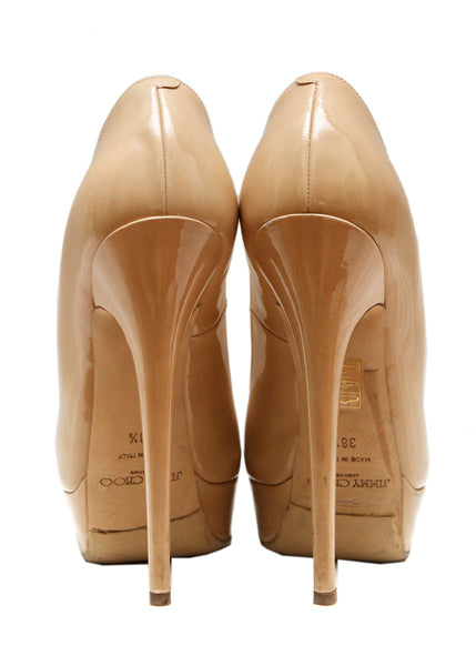 back view of Luxury JIMMY CHOO Beige Leather Pumps