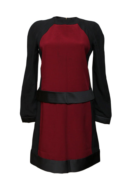 front view of Luxury VICTORIA BECKHAM Black and Bordeaux Dress