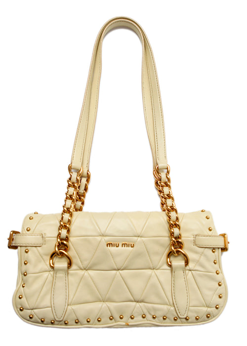 thumbnail of pre owned MIU-MIU White Leather Bag