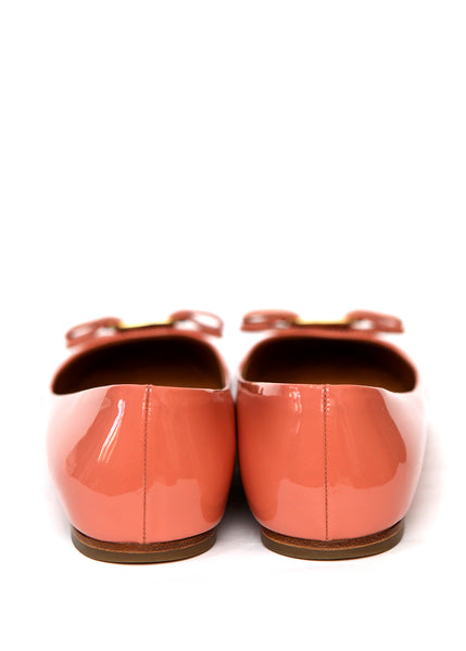 Back view of pre owned SALVATORE FERRAGAMO Pale Pink Flats