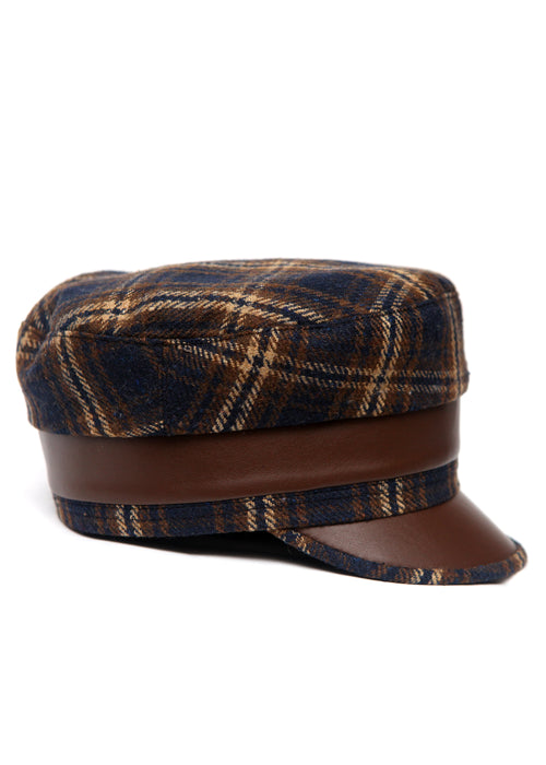 Brown & Blue Handmade Cap created by Azerbaijan fashion designer