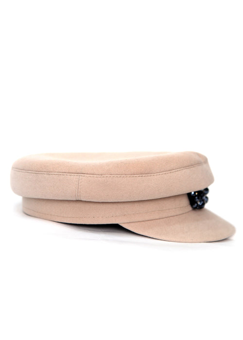 Right view of pale Pink Wool Cap by Azerbaijani designer