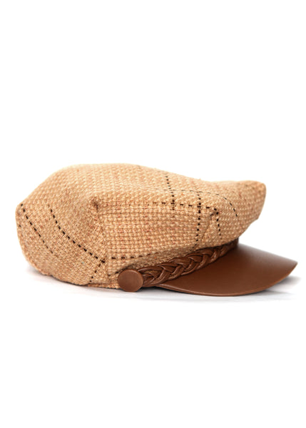Beige Handmade Cap by Azerbaijan fashion designer - right view