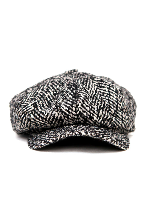 front view of Black and White Wool Cap by Azerbaijan fashion designer