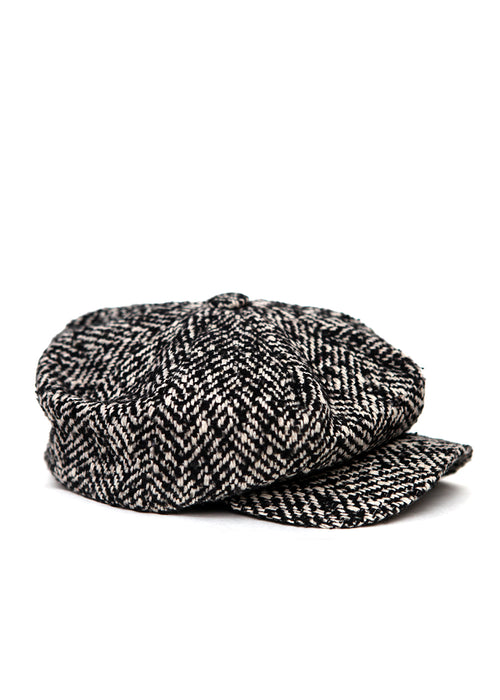 Black and White Wool Cap by Azerbaijan fashion designer right view