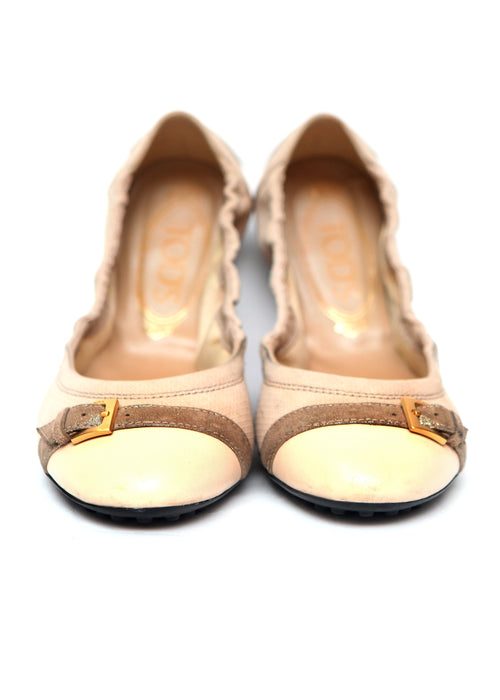 Luxury TOD'S Beige Soft Leather Ballet Flats