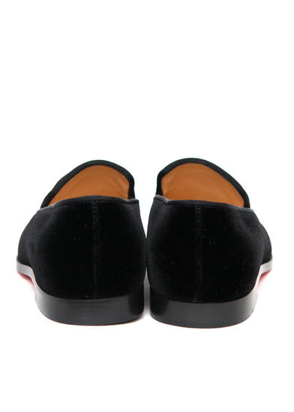 Pre owned CHRISTIAN LOUBOUTIN Black Velvet Loafers