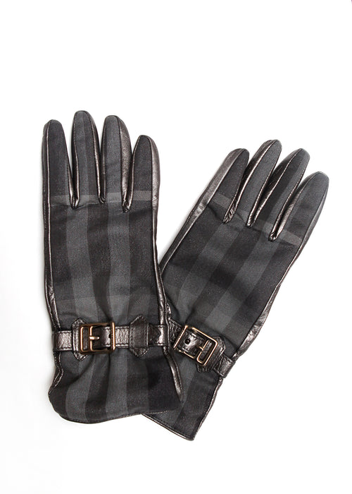 Luxury BURBERRY Metallic Leather Gloves