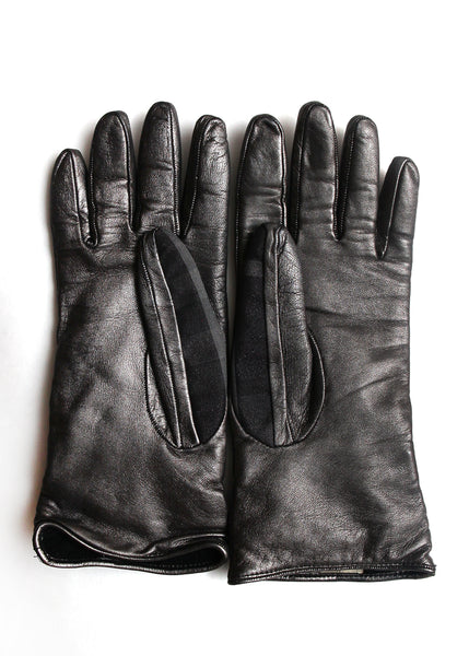 inside of Luxury BURBERRY Metallic Leather Gloves