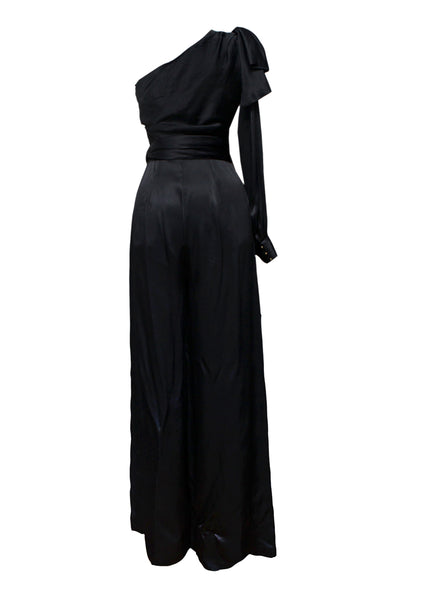 Black Satin Jumpsuit