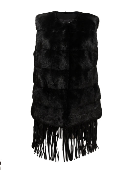 Pre owned YVES SALOMON Black Mink Vest